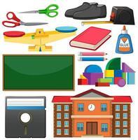 set stationaire hulpmiddelen en school vector