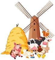 boerderijscène met boerderijdieren en schuur vector