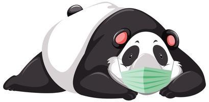 panda stripfiguur masker dragen vector