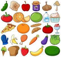 groot aantal groenten en fruit op witte achtergrond vector