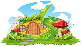 maïs huis met drie sprinkhanen cartoon stijl op witte achtergrond vector