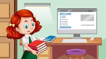 gelukkig meisje naast studeertafel vector
