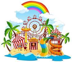 themaparkscène met veel attracties op het eiland