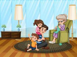 scène met familie die thuis een goede tijd heeft vector