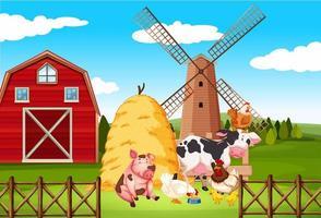boerderijtafereel met veel dieren op de boerderij vector