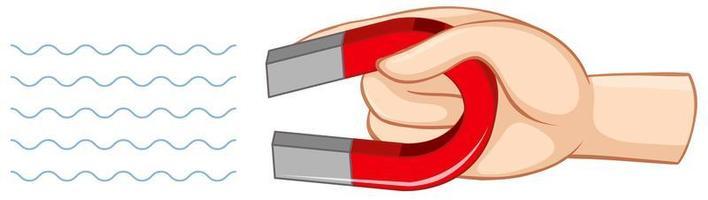 hand met rode hoefijzermagneet geïsoleerd op een witte achtergrond vector