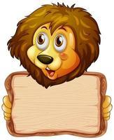 bordsjabloon met schattige leeuw op witte achtergrond vector