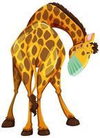 giraffe stripfiguur masker dragen