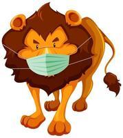 leeuw stripfiguur masker dragen vector
