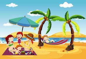 oceaanscène met mensen die pret op het strand hebben vector