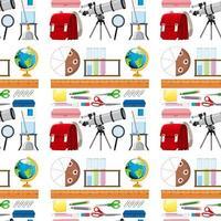 naadloze achtergrondontwerp met schoolartikelen vector