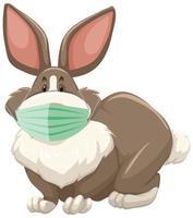 konijn stripfiguur masker dragen vector