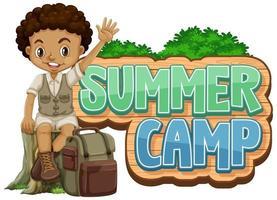 lettertype ontwerp voor zomerkamp met schattige jongen in het park