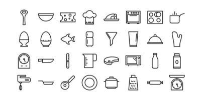 keuken lijn pictogrammen vector