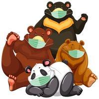 vier soorten beer stripfiguur masker dragen vector
