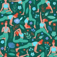 vrouwen die yoga uitoefenen vector