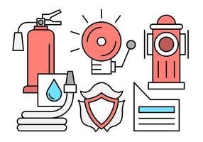 Brandweerman en brandweergave iconen in vector