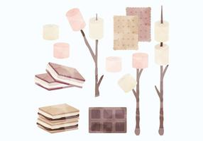 Vector Watercolor S'mores Collection
