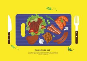 Charcuterie Ingredient Vlees Vlakke Vectorillustratie vector