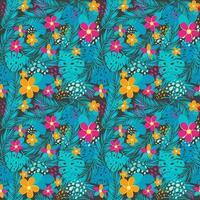tropisch naadloos patroon met palmbladeren en bloemen