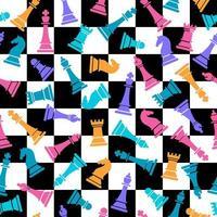 naadloze vector patroon met gekleurde schaken op geruite schaken achtergrond. schaakstukken naadloze print. vector illustratie set schaakstukken. achtergrond van schaakspel.