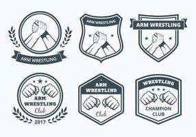 Arm wrestling badge collectie vector