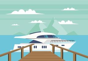 Boardwalk naar een boot Gratis Vector