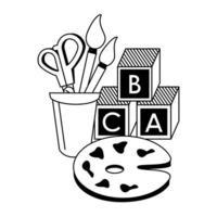 terug naar schoolonderwijs cartoons in zwart-wit