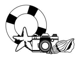 zomerstrand en vakantiebeeldverhaal in zwart-wit vector