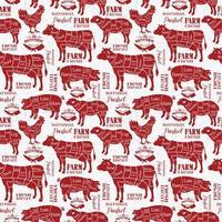 vleesstukken, rode diagrammen voor slagerij vector