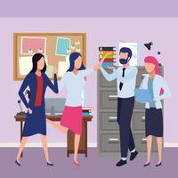 collega's met kantoorbenodigdheden vieren vector