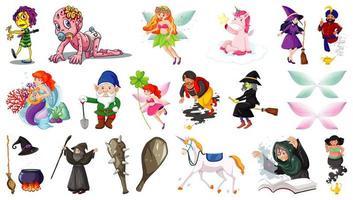 set van fantasie stripfiguren en fantasie thema geïsoleerd op een witte achtergrond