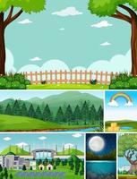 zes verschillende scènes in cartoonstijl in de natuuromgeving