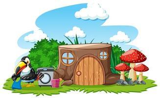 boomstronk huis met schattige vogel cartoon stijl op witte achtergrond
