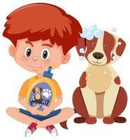 jongen die hondenshampoo product met schattige hond op witte achtergrond houdt