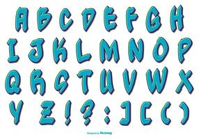 Blauwe Grafitti Stijl Alfabet Collectie vector