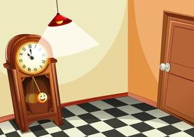 vintage houten klok in de kamer vector