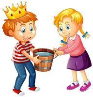 een jongen die een kroon draagt met een schattig meisje op een witte achtergrond