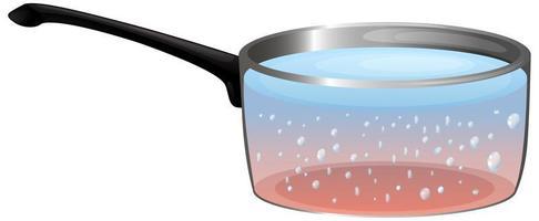 kokend water in de pot vector