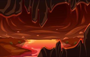 helse donkere grot met lavascène
