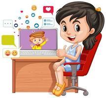 kinderen met sociale media-elementen op witte achtergrond