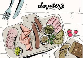 Charcuterie Koken Ingredient Vlees Hand Getrokken Vector Illustratie