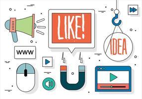 Gratis Flat Design Vector Social Media Elements