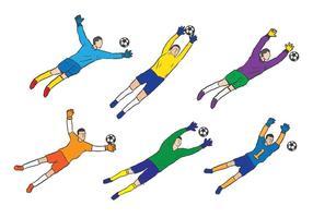Goal keeper schets vector set