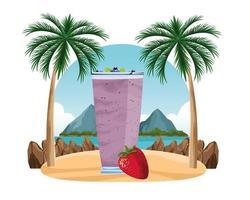 tropisch fruit en smoothiedrank vector