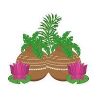 lotusbloemen en potten met bladeren