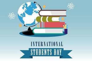 internationale studentendag ontwerp met boeken en globe vector