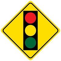 waarschuwingsbord voor een verkeerslicht op een witte achtergrond