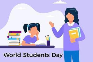 Wereldstudentendagontwerp met cartoonstudent en leraar vector
