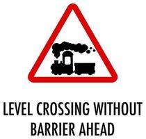 spoorwegovergang zonder barrière vooruit teken op witte achtergrond
